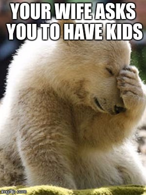 Facepalm Bear |  YOUR WIFE ASKS YOU TO HAVE KIDS | image tagged in memes,facepalm bear | made w/ Imgflip meme maker