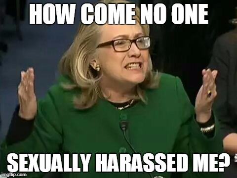 hillary what difference does it make | HOW COME NO ONE SEXUALLY HARASSED ME? | image tagged in hillary what difference does it make | made w/ Imgflip meme maker