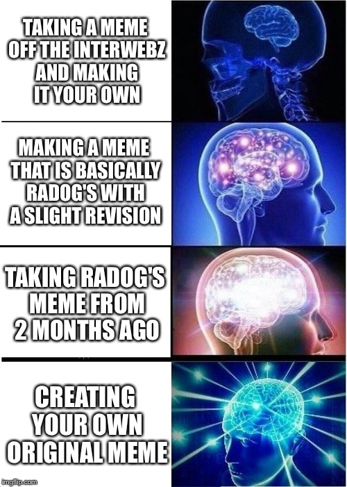 Originality can pay off | TAKING A MEME OFF THE INTERWEBZ AND MAKING IT YOUR OWN MAKING A MEME THAT IS BASICALLY RADOG'S WITH A SLIGHT REVISION TAKING RADOG'S MEME FR | image tagged in memes,expanding brain,originality | made w/ Imgflip meme maker
