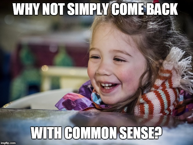 WHY NOT SIMPLY COME BACK WITH COMMON SENSE? | made w/ Imgflip meme maker