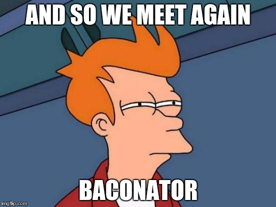Futurama Fry Meme | AND SO WE MEET AGAIN BACONATOR | image tagged in memes,futurama fry | made w/ Imgflip meme maker