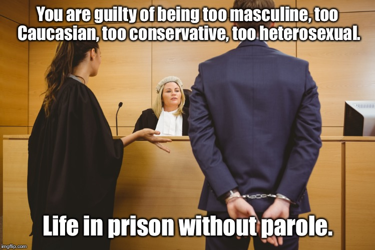 You are guilty of being too masculine, too Caucasian, too conservative, too heterosexual. Life in prison without parole. | made w/ Imgflip meme maker