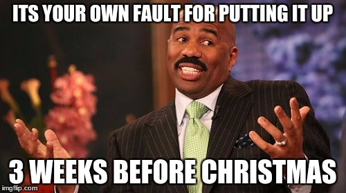 Steve Harvey Meme | ITS YOUR OWN FAULT FOR PUTTING IT UP 3 WEEKS BEFORE CHRISTMAS | image tagged in memes,steve harvey | made w/ Imgflip meme maker