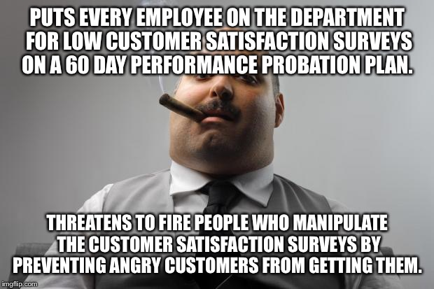 Scumbag Boss Meme | PUTS EVERY EMPLOYEE ON THE DEPARTMENT FOR LOW CUSTOMER SATISFACTION SURVEYS ON A 60 DAY PERFORMANCE PROBATION PLAN. THREATENS TO FIRE PEOPLE | image tagged in memes,scumbag boss,AdviceAnimals | made w/ Imgflip meme maker