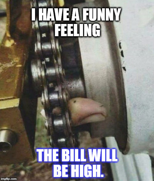 I HAVE A FUNNY FEELING THE BILL WILL BE HIGH. | image tagged in high repair bill | made w/ Imgflip meme maker
