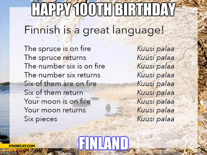 happy 100th birthday Finland! | HAPPY 100TH BIRTHDAY FINLAND | image tagged in kuusi palaa | made w/ Imgflip meme maker
