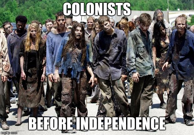 Walking dead meme | COLONISTS BEFORE INDEPENDENCE | image tagged in walking dead meme | made w/ Imgflip meme maker