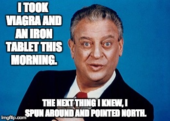 Rodney | I TOOK VIAGRA AND AN IRON TABLET THIS MORNING. THE NEXT THING I KNEW, I SPUN AROUND AND POINTED NORTH. | image tagged in rodney | made w/ Imgflip meme maker