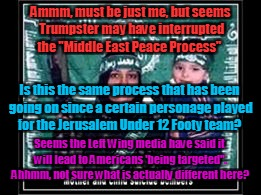 "Ammm, must be just me, but seems Trumpster may have interrupted the ""Middle East Peace Process"" Is this the same process that has been going 