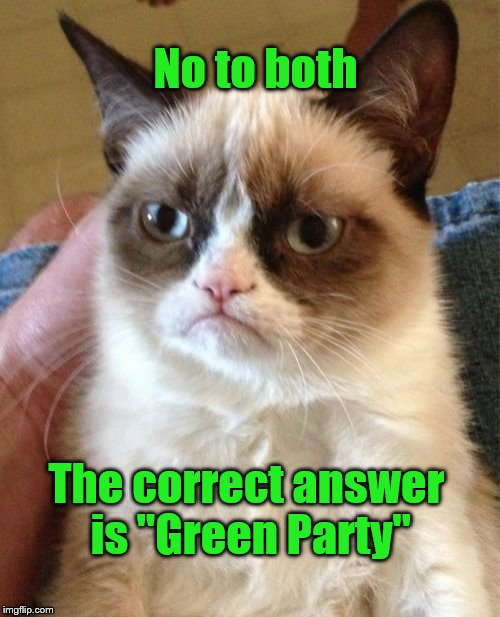 "Grumpy Cat Meme | No to both The correct answer is ""Green Party"" 