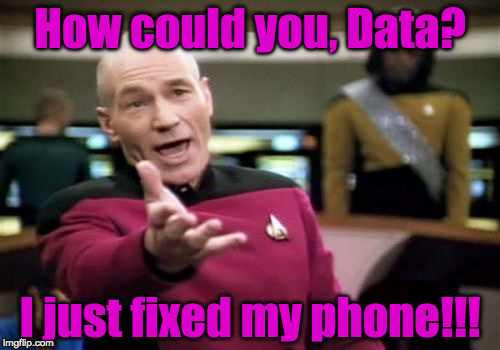 Broken Phone | How could you, Data? I just fixed my phone!!! | image tagged in memes,picard wtf | made w/ Imgflip meme maker