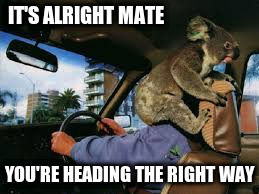 IT'S ALRIGHT MATE YOU'RE HEADING THE RIGHT WAY | made w/ Imgflip meme maker