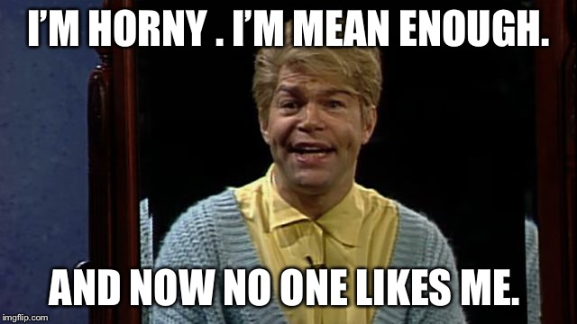 Today's affirmation  | I'M HORNY . I'M MEAN ENOUGH. AND NOW NO ONE LIKES ME. | image tagged in stuart smalley,al franken | made w/ Imgflip meme maker