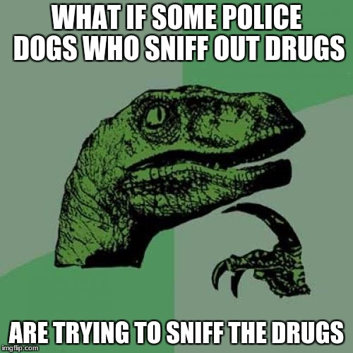 Philosoraptor Meme | WHAT IF SOME POLICE DOGS WHO SNIFF OUT DRUGS ARE TRYING TO SNIFF THE DRUGS | image tagged in memes,philosoraptor,drugs,police,police dogs | made w/ Imgflip meme maker