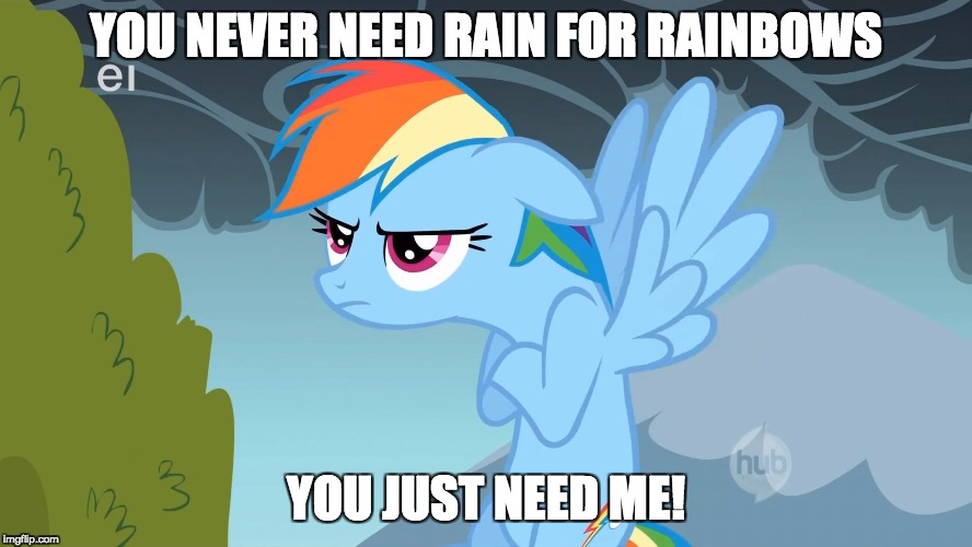 Grumpy Pony | YOU NEVER NEED RAIN FOR RAINBOWS YOU JUST NEED ME! | image tagged in grumpy pony | made w/ Imgflip meme maker