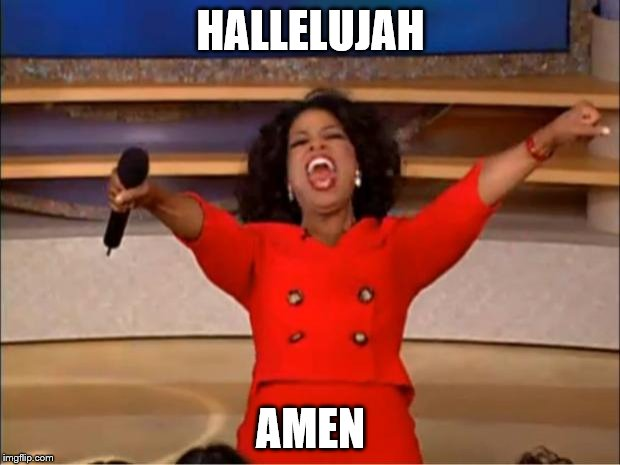 Oprah You Get A Meme | HALLELUJAH AMEN | image tagged in memes,oprah you get a | made w/ Imgflip meme maker