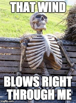 Waiting Skeleton Meme | THAT WIND BLOWS RIGHT THROUGH ME | image tagged in memes,waiting skeleton | made w/ Imgflip meme maker