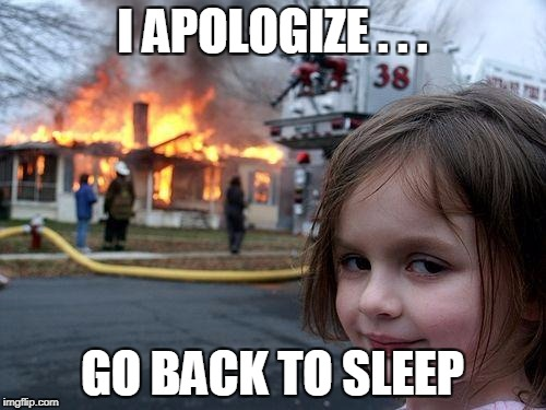 Disaster Girl Meme | I APOLOGIZE . . . GO BACK TO SLEEP | image tagged in memes,disaster girl | made w/ Imgflip meme maker