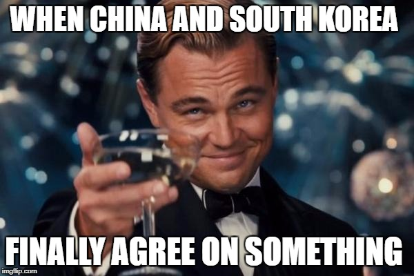 Leonardo Dicaprio Cheers Meme | WHEN CHINA AND SOUTH KOREA FINALLY AGREE ON SOMETHING | image tagged in memes,leonardo dicaprio cheers | made w/ Imgflip meme maker