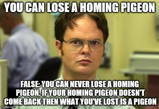 Dwight Schrute Meme | YOU CAN LOSE A HOMING PIGEON FALSE: YOU CAN NEVER LOSE A HOMING PIGEON. IF YOUR HOMING PIGEON DOESN'T COME BACK THEN WHAT YOU'VE LOST IS A P | image tagged in memes,dwight schrute | made w/ Imgflip meme maker