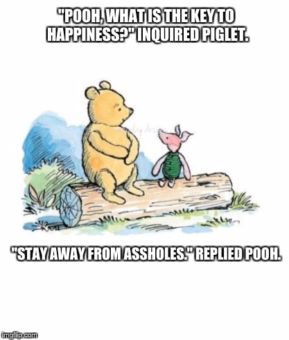 """POOH, WHAT IS THE KEY TO HAPPINESS?"" INQUIRED PIGLET. ""STAY AWAY FROM ASSHOLES."" REPLIED POOH. 