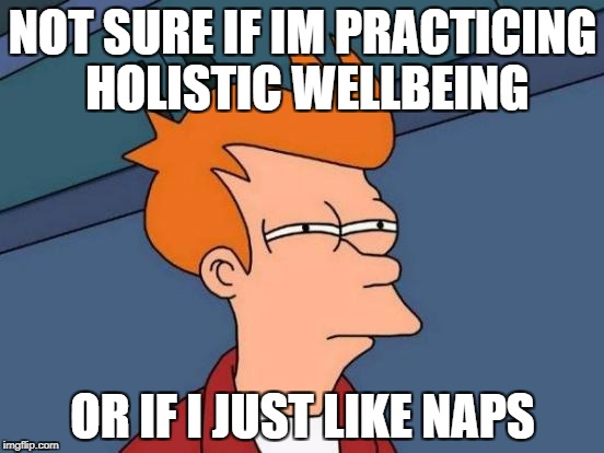 Futurama Fry Meme | NOT SURE IF IM PRACTICING HOLISTIC WELLBEING OR IF I JUST LIKE NAPS | image tagged in memes,futurama fry | made w/ Imgflip meme maker