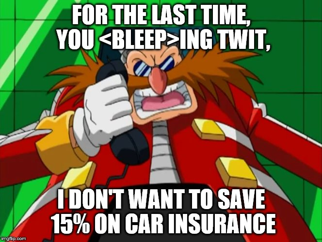 Eggman phone Sonic X | FOR THE LAST TIME, YOU <BLEEP>ING TWIT, I DON'T WANT TO SAVE 15% ON CAR INSURANCE | image tagged in eggman phone sonic x | made w/ Imgflip meme maker