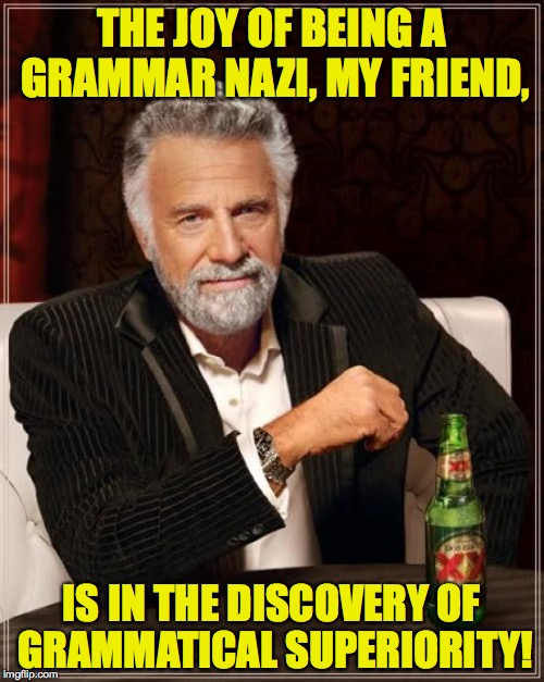 The Most Interesting Man In The World Meme | THE JOY OF BEING A GRAMMAR NAZI, MY FRIEND, IS IN THE DISCOVERY OF GRAMMATICAL SUPERIORITY! | image tagged in memes,the most interesting man in the world | made w/ Imgflip meme maker