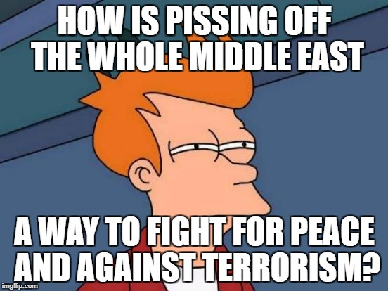 Futurama Fry Meme | HOW IS PISSING OFF THE WHOLE MIDDLE EAST A WAY TO FIGHT FOR PEACE AND AGAINST TERRORISM? | image tagged in memes,futurama fry | made w/ Imgflip meme maker