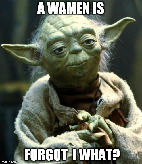Star Wars Yoda Meme | A WAMEN IS FORGOT  I WHAT? | image tagged in memes,star wars yoda | made w/ Imgflip meme maker