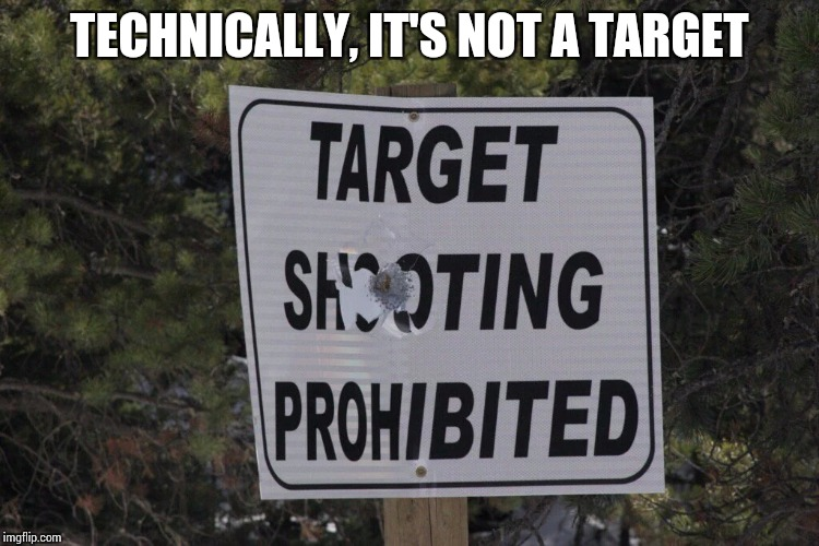 Well...shoot! | TECHNICALLY, IT'S NOT A TARGET | image tagged in shooting,sign,pipe_picasso | made w/ Imgflip meme maker