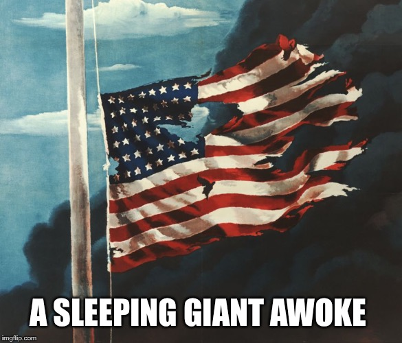 Flag at Pearl Harbor | A SLEEPING GIANT AWOKE | image tagged in flag at pearl harbor | made w/ Imgflip meme maker