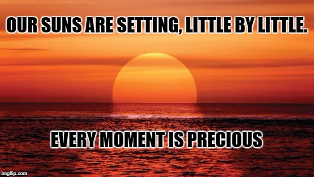 suns setting | OUR SUNS ARE SETTING, LITTLE BY LITTLE. EVERY MOMENT IS PRECIOUS | image tagged in memes | made w/ Imgflip meme maker