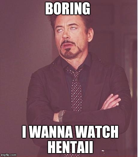 Face You Make Robert Downey Jr Meme | BORING I WANNA WATCH HENTAII | image tagged in memes,face you make robert downey jr | made w/ Imgflip meme maker