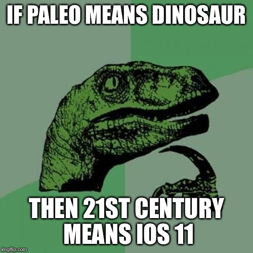 Philosoraptor Meme | IF PALEO MEANS DINOSAUR THEN 21ST CENTURY MEANS IOS 11 | image tagged in memes,philosoraptor | made w/ Imgflip meme maker