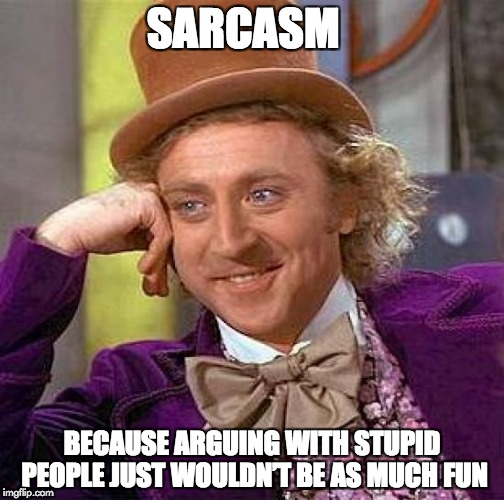 and So Much Fun to have on imgflip | SARCASM BECAUSE ARGUING WITH STUPID PEOPLE JUST WOULDN'T BE AS MUCH FUN | image tagged in memes,creepy condescending wonka | made w/ Imgflip meme maker