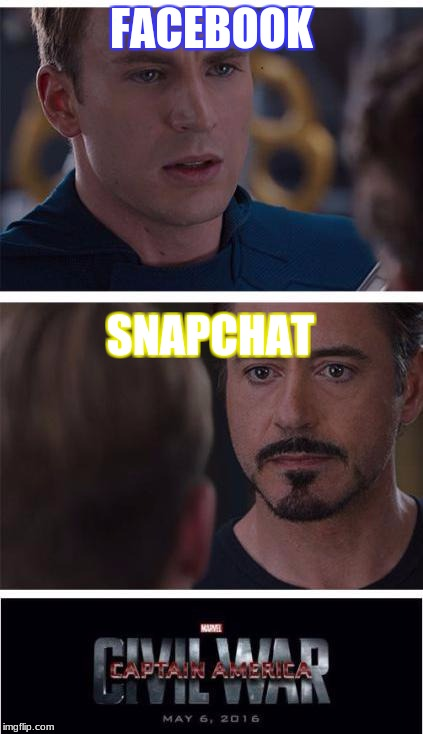 Marvel Civil War 1 Meme | FACEBOOK SNAPCHAT | image tagged in memes,marvel civil war 1 | made w/ Imgflip meme maker
