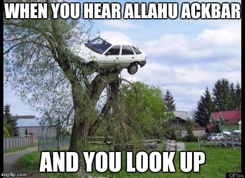 Secure Parking Meme | WHEN YOU HEAR ALLAHU ACKBAR AND YOU LOOK UP | image tagged in memes,secure parking | made w/ Imgflip meme maker