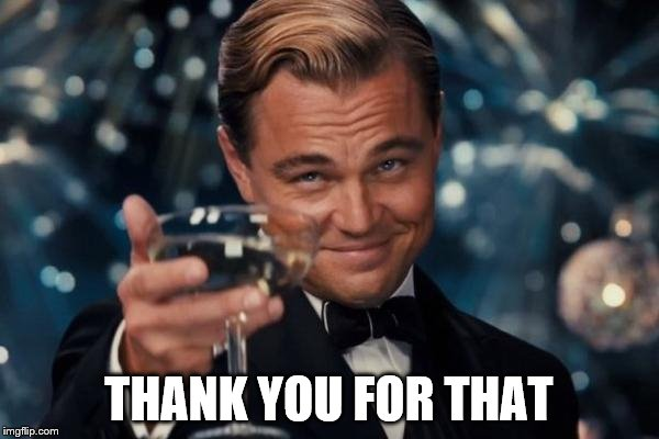 Leonardo Dicaprio Cheers Meme | THANK YOU FOR THAT | image tagged in memes,leonardo dicaprio cheers | made w/ Imgflip meme maker