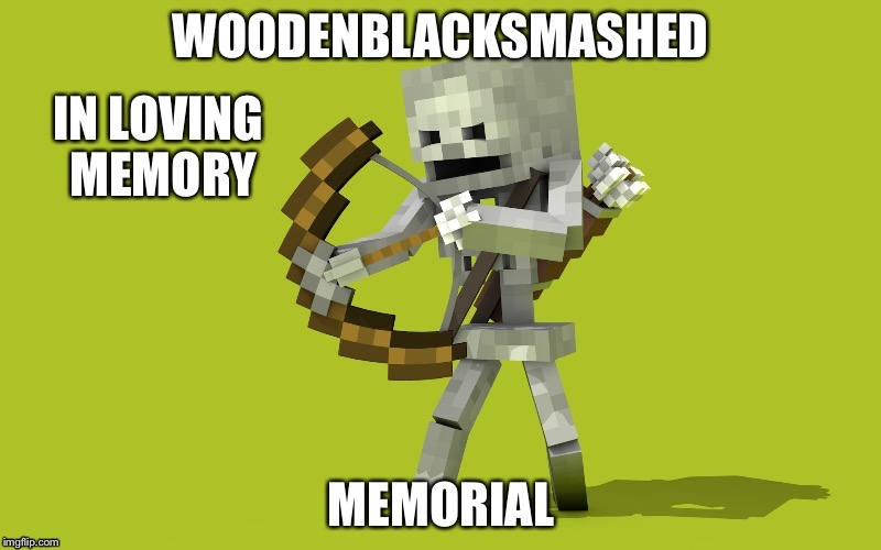 This is in loving memory of woodenblacksmashed. | IN LOVING MEMORY MEMORIAL | image tagged in meme,memes | made w/ Imgflip meme maker
