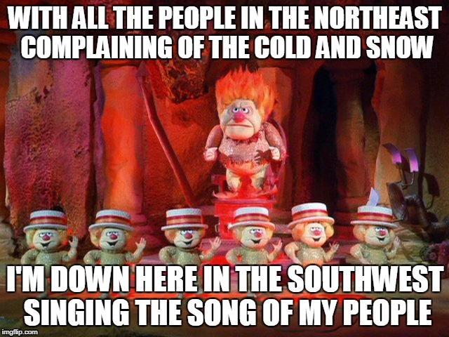 I'm Mr. Green Christmas, I'm Mr. Sun. I'm Mr. Heat Blister, I'm Mr. 101! | WITH ALL THE PEOPLE IN THE NORTHEAST COMPLAINING OF THE COLD AND SNOW I'M DOWN HERE IN THE SOUTHWEST SINGING THE SONG OF MY PEOPLE | image tagged in memes,no snow | made w/ Imgflip meme maker
