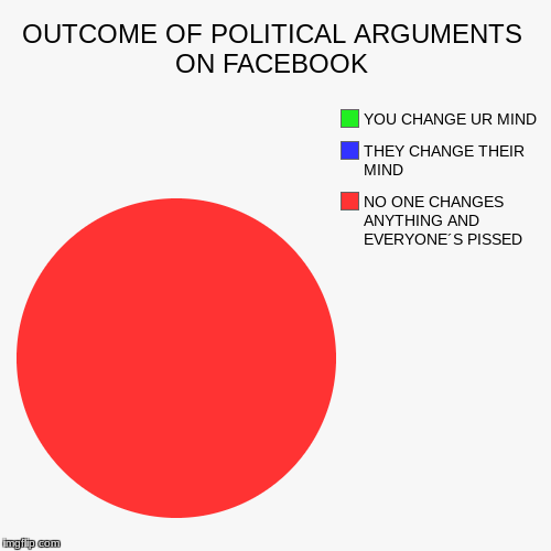 OUTCOME OF POLITICAL ARGUMENTS ON FACEBOOK | NO ONE CHANGES ANYTHING AND EVERYONE´S PISSED, THEY CHANGE THEIR MIND, YOU CHANGE UR MIND | image tagged in funny,pie charts | made w/ Imgflip chart maker