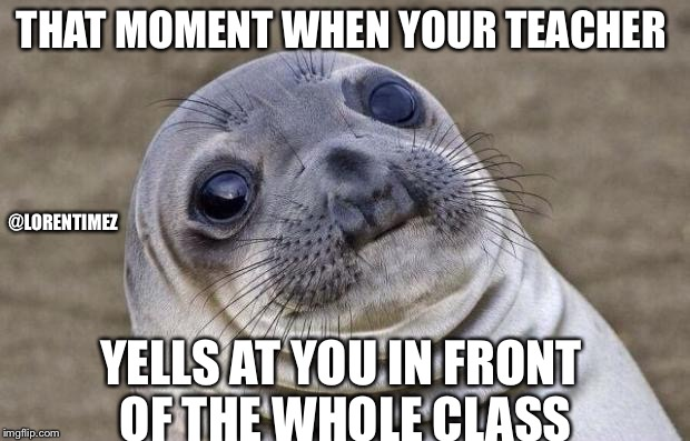 Awkward Moment Sealion Meme | THAT MOMENT WHEN YOUR TEACHER YELLS AT YOU IN FRONT OF THE WHOLE CLASS @LORENTIMEZ | image tagged in memes,awkward moment sealion | made w/ Imgflip meme maker