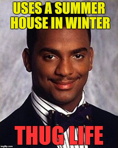 He's such a rebel :) | USES A SUMMER HOUSE IN WINTER THUG LIFE | image tagged in carlton banks thug life,memes,summer house,winter,thug life | made w/ Imgflip meme maker