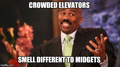 Steve Harvey Meme | CROWDED ELEVATORS SMELL DIFFERENT TO MIDGETS | image tagged in memes,steve harvey | made w/ Imgflip meme maker