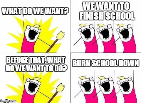 What Do We Want Meme | WHAT DO WE WANT? WE WANT TO FINISH SCHOOL BEFORE THAT, WHAT DO WE WANT TO DO? BURN SCHOOL DOWN | image tagged in memes,what do we want | made w/ Imgflip meme maker