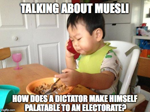 No Bullshit Business Baby | TALKING ABOUT MUESLI HOW DOES A DICTATOR MAKE HIMSELF PALATABLE TO AN ELECTORATE? | image tagged in memes,no bullshit business baby,muesli,dictator | made w/ Imgflip meme maker