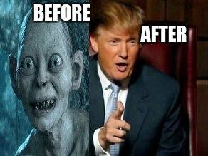 Before makeup After makeup | BEFORE                                                          AFTER | image tagged in donald trump | made w/ Imgflip meme maker