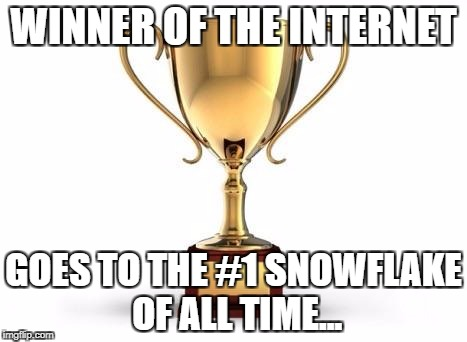 Trophy |  WINNER OF THE INTERNET; GOES TO THE #1 SNOWFLAKE OF ALL TIME... | image tagged in trophy | made w/ Imgflip meme maker