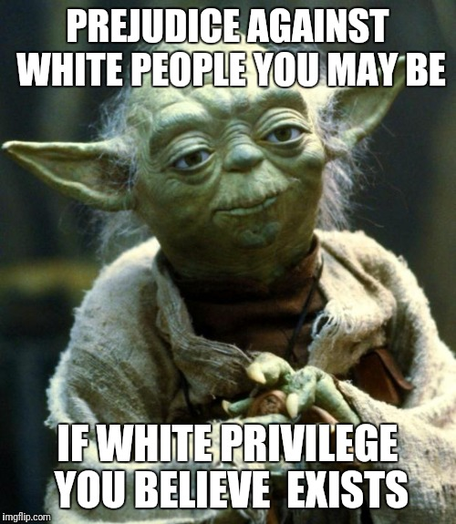 Star Wars Yoda Meme | PREJUDICE AGAINST WHITE PEOPLE YOU MAY BE IF WHITE PRIVILEGE YOU BELIEVE  EXISTS | image tagged in memes,star wars yoda | made w/ Imgflip meme maker